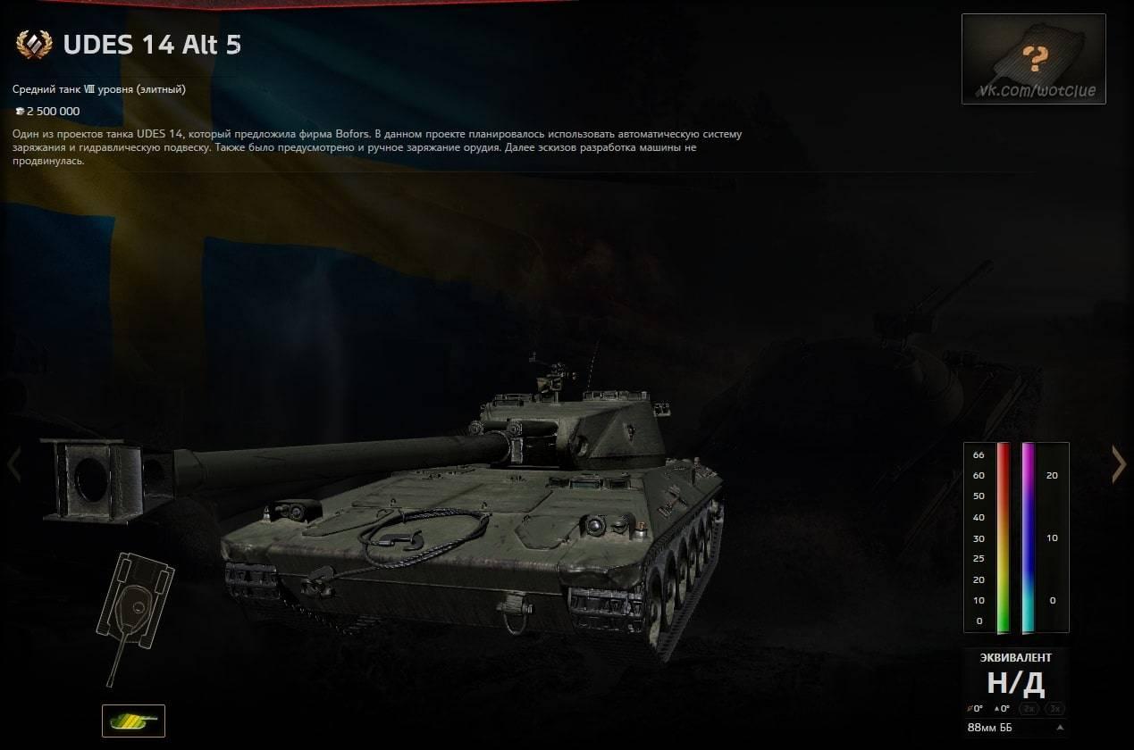 UDES 14 Alt 5 - обзор на новый шведский средний танк 8 уровня